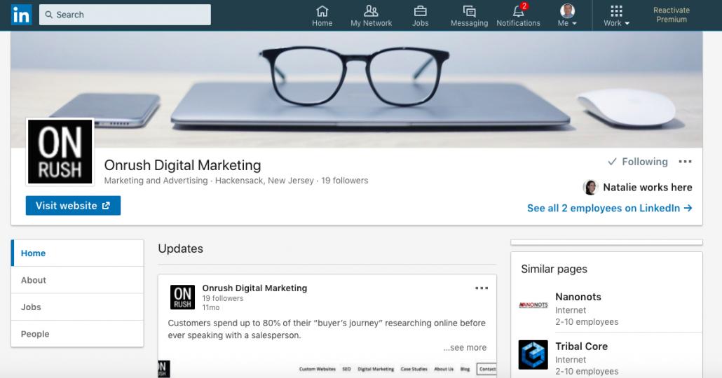Onrush Digital Linkedin Page